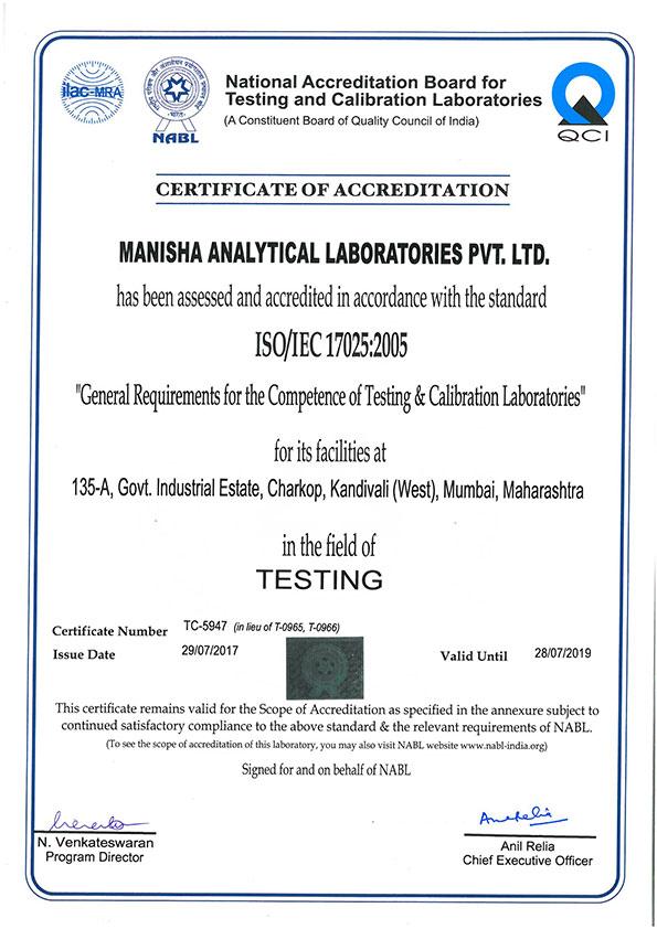 MANISHA ANALYTICAL LABORATORIES PVT  LTD -